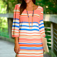 Sweet Tooth Dress, Coral/Blue