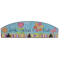 Blue & Pink Look What I Did Sign with Black Clips | Hobby Lobby