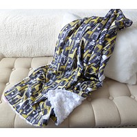 Monogram Grey and Yellow Giraffe Baby Stroller Blanket