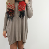 Now Becoming Royalty Mocha Long Sleeve Dress