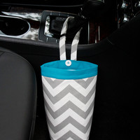 Car Trash Bag ~ Gray Chevron ~ Turquoise Band ~ Gearshift Handle ~ Oilcloth Lining