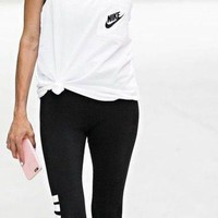 VONE05 Nike Signal Women Exercise Gym Top Tank + Gym Yoga Running Leggings Sweatpants Set Two-Piece Sportswear