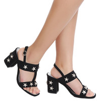 Star Pearls Embellished Buckle Chunky Heel Sandals
