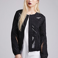 Embroidered Cutout Bomber Jacket