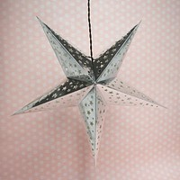 """26"""" Silver Foil Cut-Out Paper Star Lantern, Chinese Hanging Wedding & Party Decoration"""