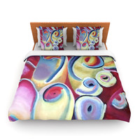 """Cathy Rodgers """"Groovy"""" Rainbow Flowers Lightweight Duvet Cover"""