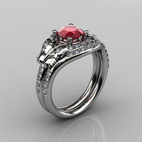 14KT White Gold Diamond Leaf and Vine Ruby Wedding Band Engagement Ring Set NN117S-14KWGDR Nature Inspired Jewelry