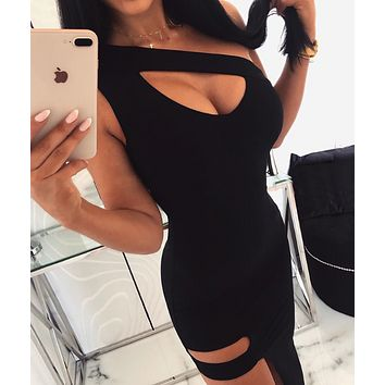 New fashion summer one-shoulder hollowed out slim sexy hip dress
