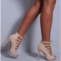 Kimberley Black Suedette Lace Up Heels   Pink Boutique