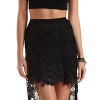 High-Low Floral Lace Skirt by Charlotte Russe