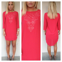 Red Eyelet Cut Out Hi Low Dress
