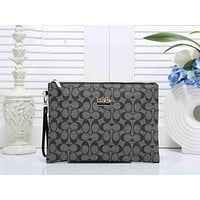 Coach Trending Women Men Stylish Logo Print Leather Zipper Wallet Purse Handbag Grey I-KSPJ-BBDL