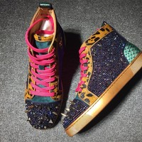 KUYOU Christian Louboutin red soled shoes CL high-top hot drill sneakers