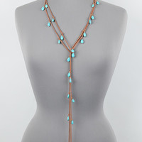 "72"" turquoise charm faux leather stone wrap choker necklace"