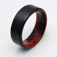 Redwood Burl and Carbon fiber wedding band, Handmade wood ring