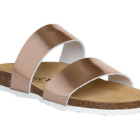Office Oslo Two Strap Footbed Rose Gold - Sandals