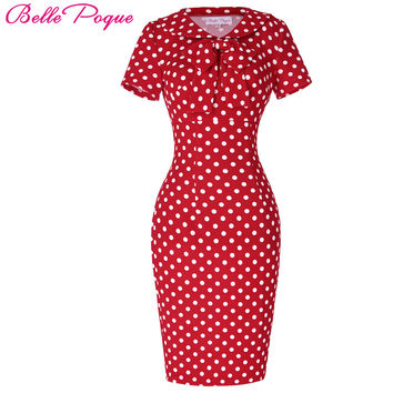 Belle Poque Womens Vintage 50s 60s Polka Dot Bow Doll Collar Tunic Wear to Work Office Business Casual Sexy Pencil Sheath Dress