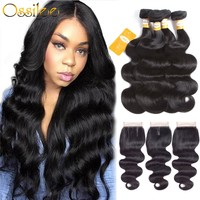 Ossilee Body Wave Bundles with Closure Brazilian Hair Weave Bundles Human Hair Bundles with Closure Remy 3 Bundles with Closure