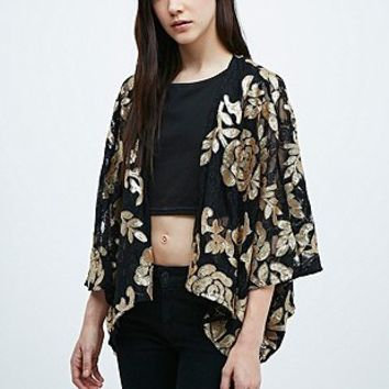 Pins & Needles Sequin Kimono in Black and Gold - Urban Outfitters