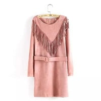Solid  Suede Leather Long Sleeve Tassel Dress With Belt