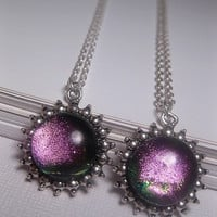Green Pink Necklace - Dichroic - Shimmer & Sparkle - Round Cabochon - Custom Length