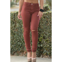 Trendy Solid Color Skinny Ripped Jeans For Women