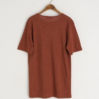 S/S Linen Mix Tee, Brown