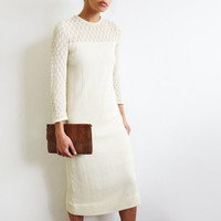 Off White Knit Shift Dress // Small 1970's Cream Dress // Vintage Womens Clothing