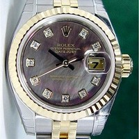 NEW Rolex Lady Datejust Gold Steel Black Mother Pearl Diamond 179173 WATCH CHEST
