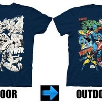 Marvel Comics Characters UV Collage Navy Youth T-shirt