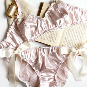 Vintage Style Satin Lingerie Set 'Pocket full of Posies' Soft Bra & Tie-Up Panties Handmade to Order