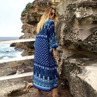 Summer beach style navy blue geometric print ethnic long women kimono bikini cover up
