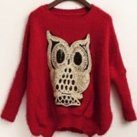 Red Batwing Long Sleeve Owl Sequined Sweater - Sheinside.com