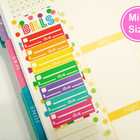 MINI Rainbow Bill Pay Stickers - Erin Condren Life Planner stickers - erin condren planner stickers - bill sticker - bill due sticker