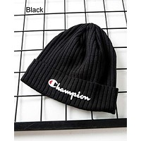 Champion winter new street fashion men and women street warm knit hat Black