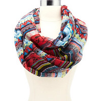 STRIPED TRIBAL PRINTED INFINITY SCARF