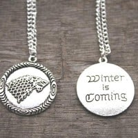 GOT Stark House Symbol Wolf Pendant Necklace Unisex Winter Is Coming with Antique Silver