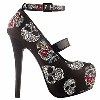 Skull Print Ankle Strap Platform Stiletto Pumps