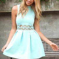Mint Turtle-Neck Dress with Cut-out Floral Crochet Detail