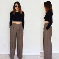 "Vintage 26"" linen wide leg flare bell bottom high waisted trouser palazzo  pants menswear brown"