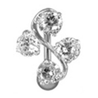 """Amazon.com: 14g Reverse Vine Sexy Belly Button Navel Ring Body Jewelry Piercing with Clear Cz Stones and Surgical Steel Bar Non Dangling 14 Gauge 3/8"""" Nemesis Body JewelryTM: Everything Else"""
