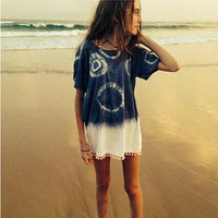 White and Dark Blue Tie-Dye Short Sleeve Dress with Tassel