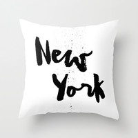 Black and White Pillow - New York Pillow - Modern Decorative Pillow - Velveteen Pillow Cover - Black and White Cushion Cover - New York City