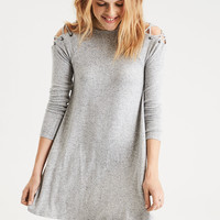 AE Lace Up Shoulder Dress, Heather Gray