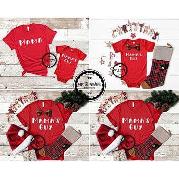 Matching Mom and Son Shirts Mama and Mamas Guy Christmas Baby Toddler Graphic Tees Mother of Mayhem Unisex