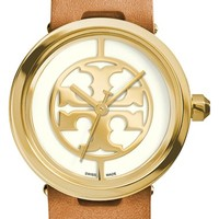 Women's Tory Burch 'Reva' Logo Dial Leather Strap Watch, 28mm - Luggage/ Gold