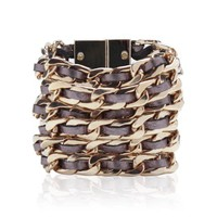 CARA COUTURE Leather & Chain Bracelet