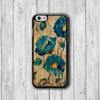 Blue Watercolor Flower Wooden Phone Cases, Floral Painting iPhone 6 Cover,iPhone 6Plus iPhone 5, iPhone 4S Hard Case, Rubber Deco Boss Gift