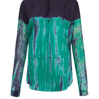 Raquel Allegra Green Tie-Dye Silk Shirt | Women's Shirts by Raquel Allegra | Liberty.co.uk
