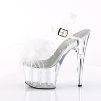 "Adore 708MF Clear Ankle Strap Upper White Marabou Feather 7"" High Heels"